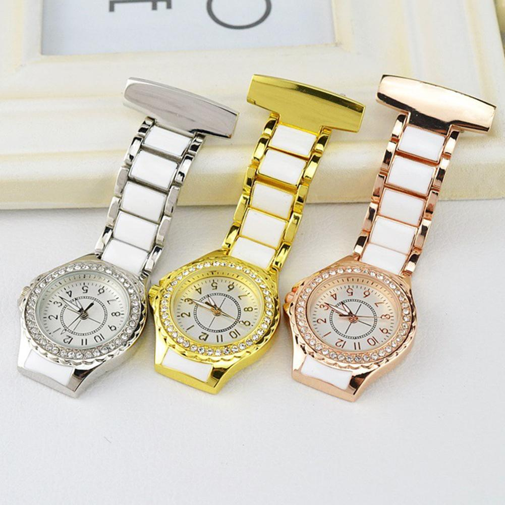 Luxury Rhinestone Waterproof Pocket-watch Round Dial Arabic Number Analog Quartz Nurse Watch Doctor Watch карманные часы