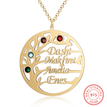 Personalized Name Necklace 925 Sterling Sliver Tree Pendant Customized 4 Names Birthstones Delicated Anniversary Gift for Women