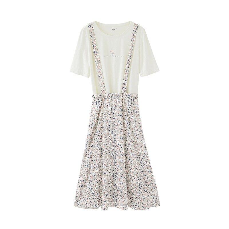 INMAN 2020 primavera nuevo Arriavl puro y con estampado ligero camiseta Linda dulce Shivering Suspender traje de dos piezas - 5