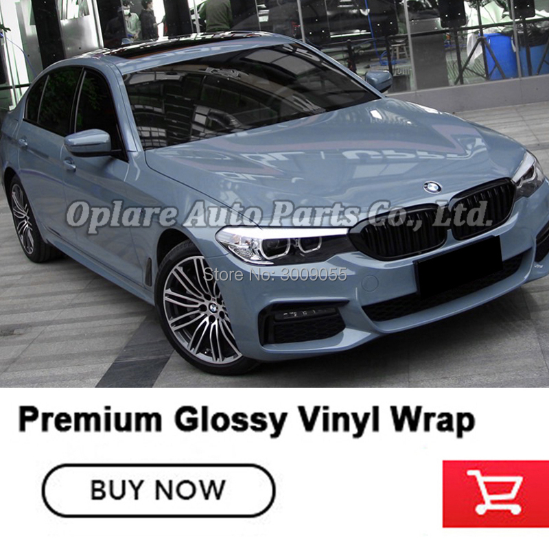 Highest quality Gloss Cement Gray car rapping Vinyl Wrap Super Glossy Grey Car Body Wrap stretching easy install 5m/10m/18m(China)