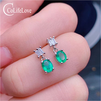 CoLife Jewelry 925 Silver Emerald Earrings for Daily Wear 4mm*5mm Natural Emerald Silver Earrings Fashion Silver Earrings
