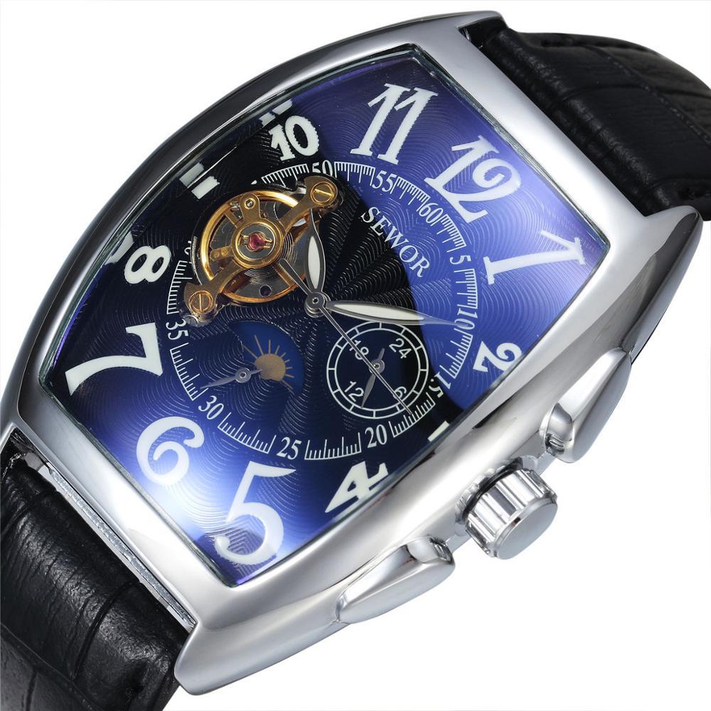 Automatic Mechanical Watch Men Skeleton Brand Luxury  Barrel type Waterproof Skeleton Men Automatic Watches Clock