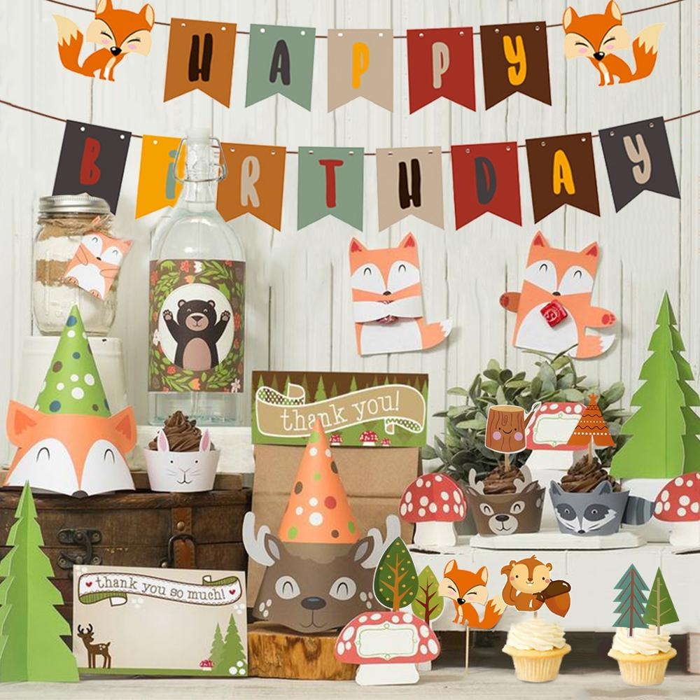 FENGRISE Woodland Animals Birthday Party Decoration Kids Forest Tableware Safari Birthday Party Supplies Baby Shower Table Decor
