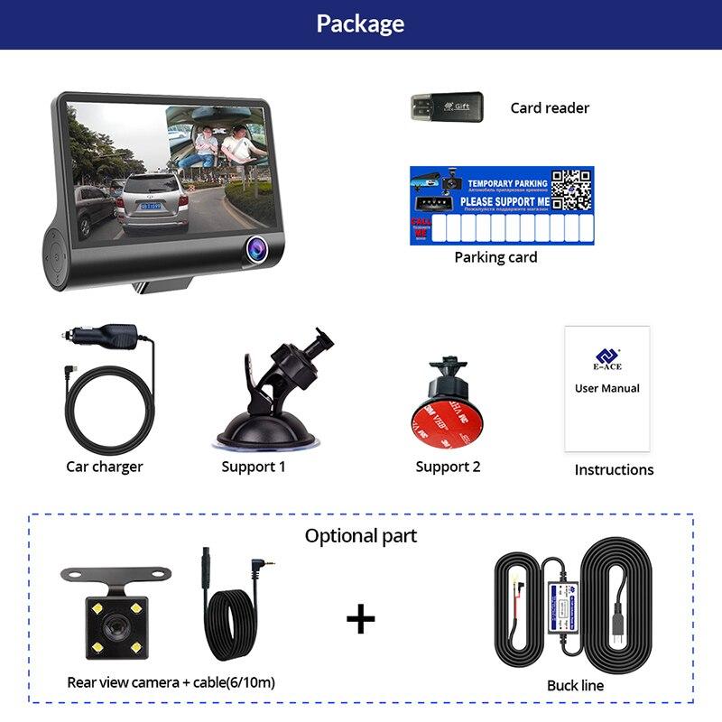 Image 5 - E ACE Car DVR 3 Cameras Lens 4.0 Inch Dash Camera Dual Lens With Rearview Camera Video Recorder Auto Registrator Dvrs Dash Cam-in DVR/Dash Camera from Automobiles & Motorcycles