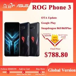 Глобальная версия ASUS ROG Phone 3 ZS661KS 5G Смартфон Snapdragon 865/865 плюс 6000 мАч NFC Android Q 144 Гц игровой телефон ROG3