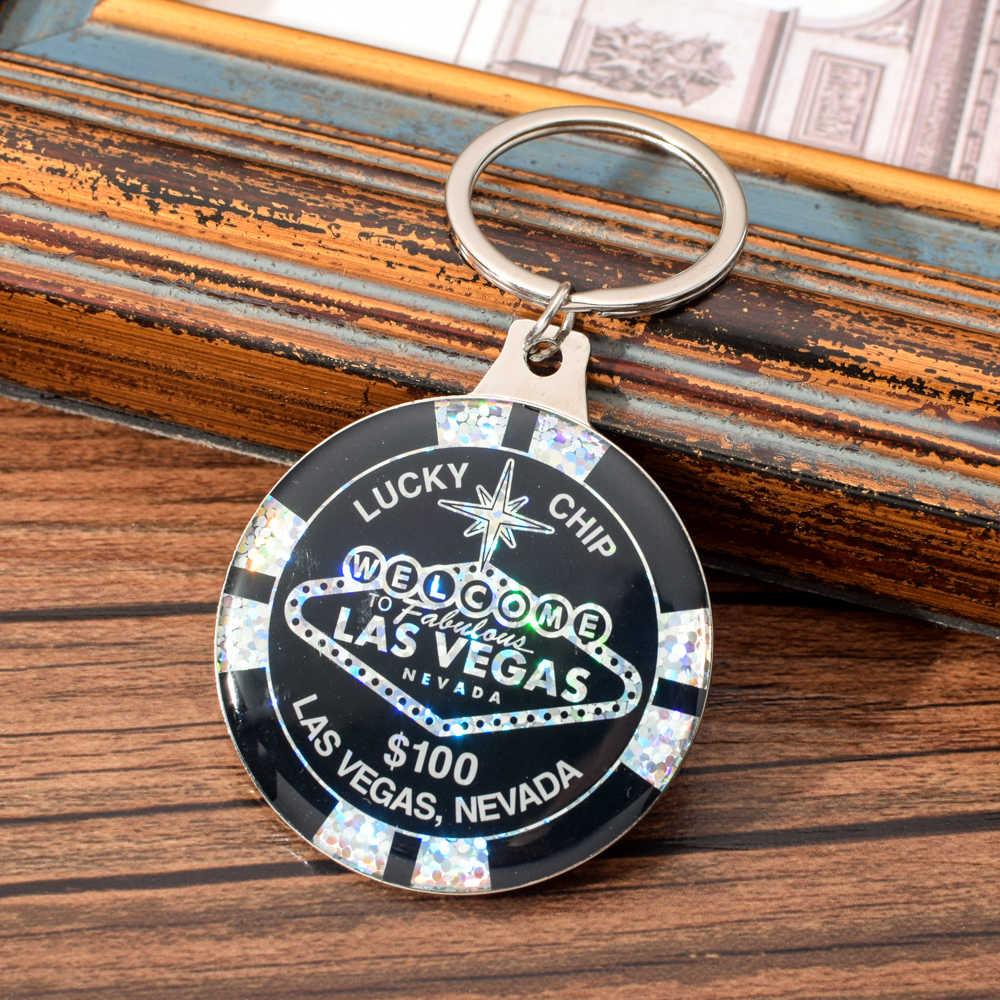 $1000000 chip chaveiro presente do casino lembrança vicney las vegas carta chaveiro para mulheres homens lucky chip chaveiro preto azul