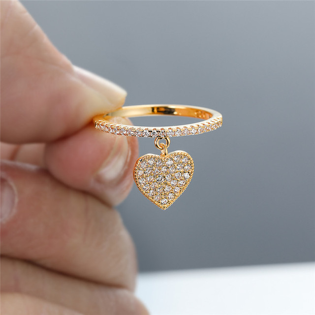 Cute Heart Pendant White Zircon Rings For Women Yellow Gold/White Gold/Rose Gold Engagement Promise Ring Female Wedding Jewelry 2