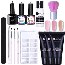 Ur Suiker Poly Set Led Nail Gel Clear Uv Gel Vernis Nagellak Kunst Kit Quick Building Uitbreiding Nagel Lengte hard Gel Poly Kit(China)