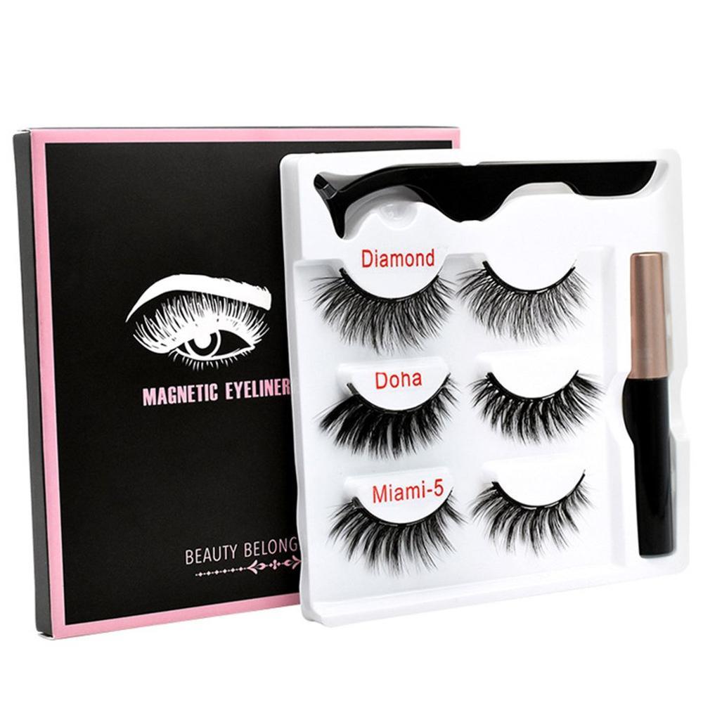 Magnetic False Eyelashes Eyeliner Magnet Eyelash Set 3 Pairs Of + Tweezers