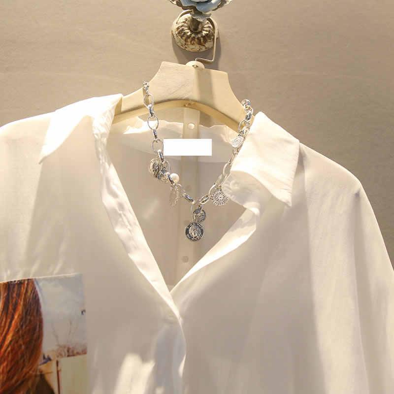 Xitao Onregelmatige Geplooide Zwart Wit Shirt Vrouwen Kleding 2019 Tij Print Button Blouse Top Zomer Mode Nieuwe Match Alle ZLL4271