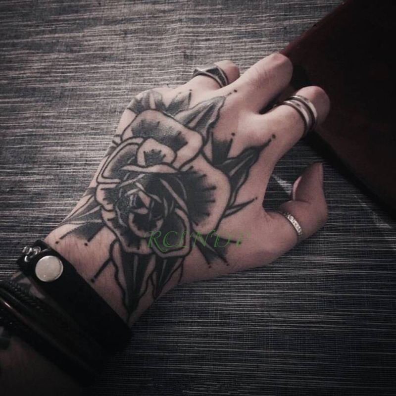 Waterproof Temporary Tattoo Sticker Rose Flower Fake Tatto Personality Flash Tatoo Hand Arm Foot Back Tato For Girl Women Men