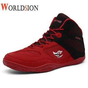 Nuevos zapatos de lucha libre para hombres, zapatillas profesionales de lucha libre blancas y rojas, zapatillas de boxeo de lujo antideslizantes, zapatillas de deporte para hombres