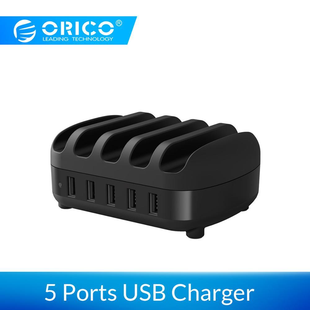 Station de chargement USB ORICO 5 ports avec support 40W 5V2. 4A * 5 chargement USB pour tablette iphone pad PC Kindle