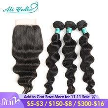 Ali Grace Hair Brazilian Loose Wave Bundles With Closure 100% Remy Hair 3 Bundles With 4x4 Lace Closure Middle and Free Part