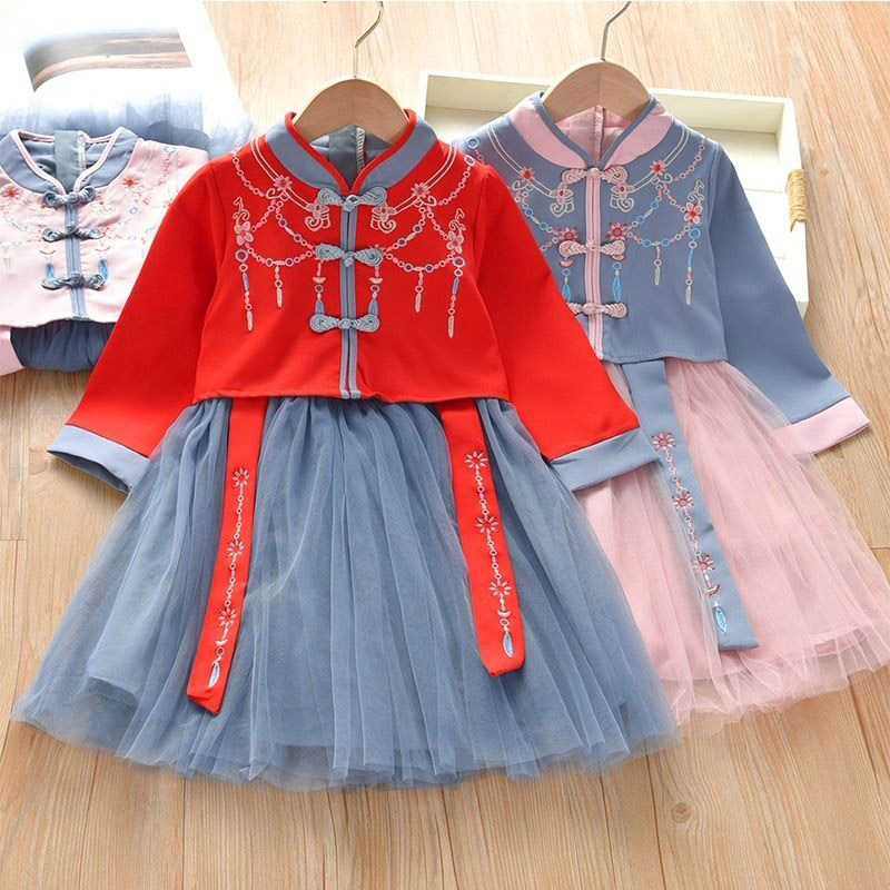 New Princess Lace Hanfu Kids Flower Embroidery Dress For Girls Traditional Baby Dresses For Wedding Party Chinese Dance Costumes