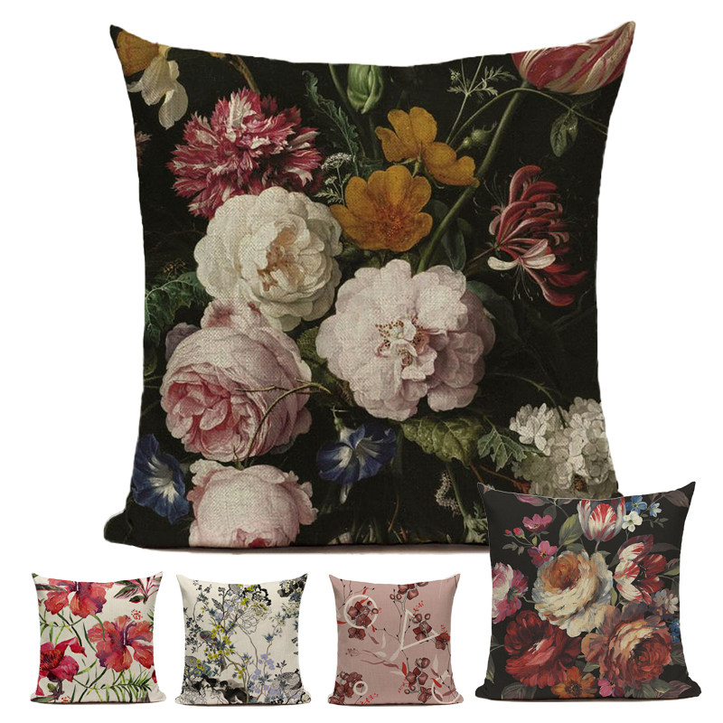 Cushion Cover Spring Decoration Flower Pillow Cover Oil Painting Throw Pillows For Living Room Funda Cojin 45*45 Farmhouse Decor