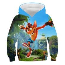 New for boys and girls and kids Crash Bandicoot runs in 3D hoodie spring fall long sleeve sweatshirt jumper street wear Sudadera
