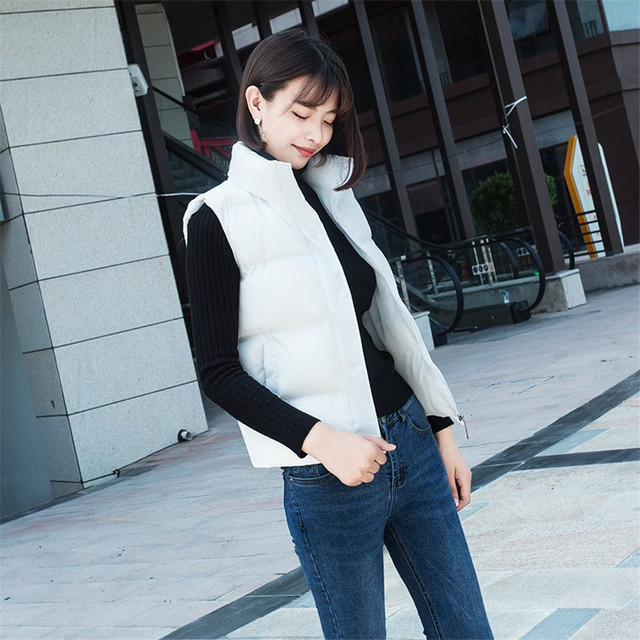 20 New Autumn Solid Women Down Cotton Vest Lady Short Outwear Winter Girl Sleeveless Cotton Jacket Big Size Basic Tops WZ1176 5