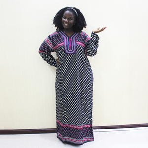 Image 1 - Dashikiage 刺繍アップリケドットルーズロングドレス女性 2019 長袖ヴィドレス