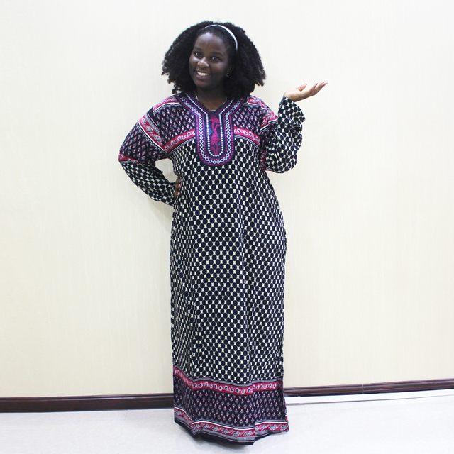 Dashikiage 刺繍アップリケドットルーズロングドレス女性 2019 長袖ヴィドレス