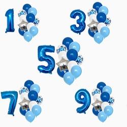12 pçs crianças aniversários 1/2/3/5/6/8/9 anos de idade balões conjunto 32 polegada azul número folha balões chuveiro do bebê decoração de casamento