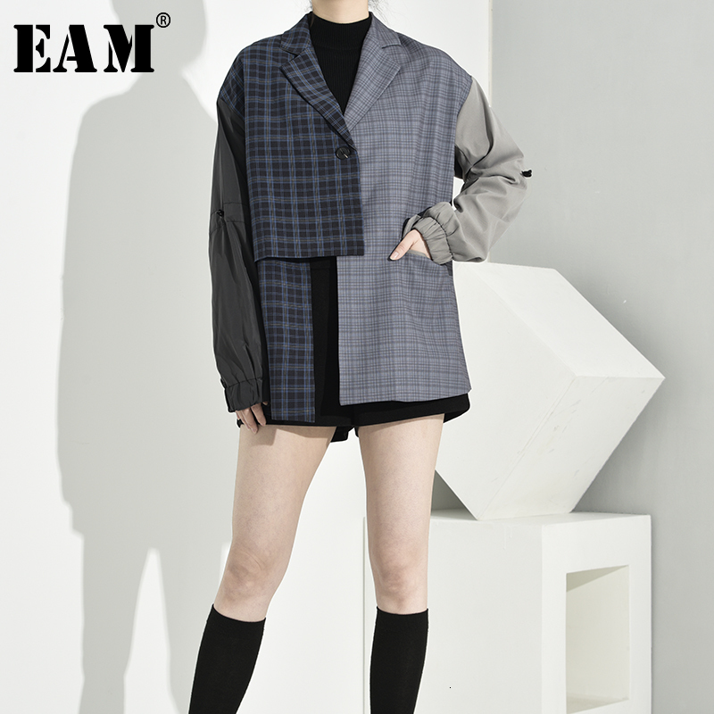 [EAM]  Women Asymmetrical Plaid Big Size Blazer New Lapel Long Sleeve Loose Fit Jacket Fashion Tide Spring Autumn 2020 1B4690