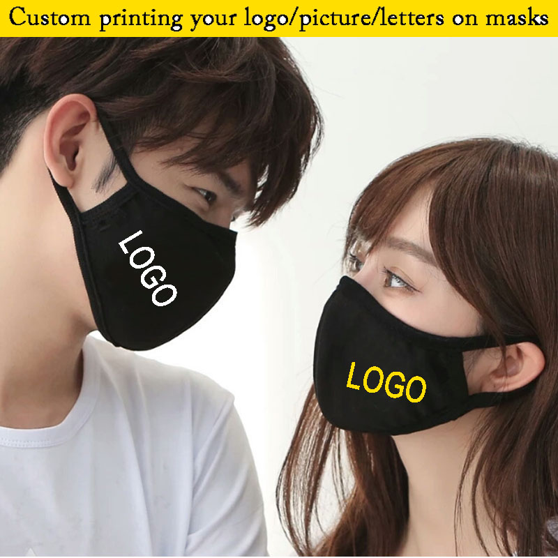 10pcs A Lot Cotton Adult Mouth Mask Printing LOGO/Letters Mask Windproof Mouth-muffle Bacteria Proof Flu Face Solid Masks Care
