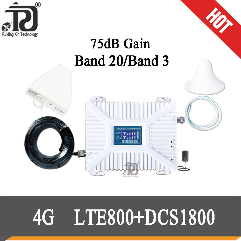 75dB Gain Signal Booster1800mhz LTE 800 4G Dual Band Cellular Mobile Signal Repeater  DCS 800 1800 Amplifier Kit