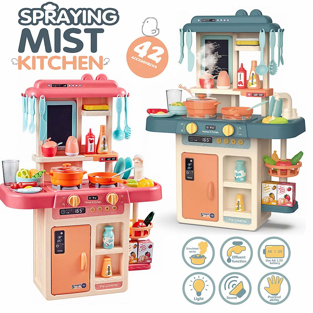 42pcs Kids Kitchen Set Children Kitchen Toys Plastic Cooking Toy Gift Children Cooking Model Play Educational Toy For Girl Baby