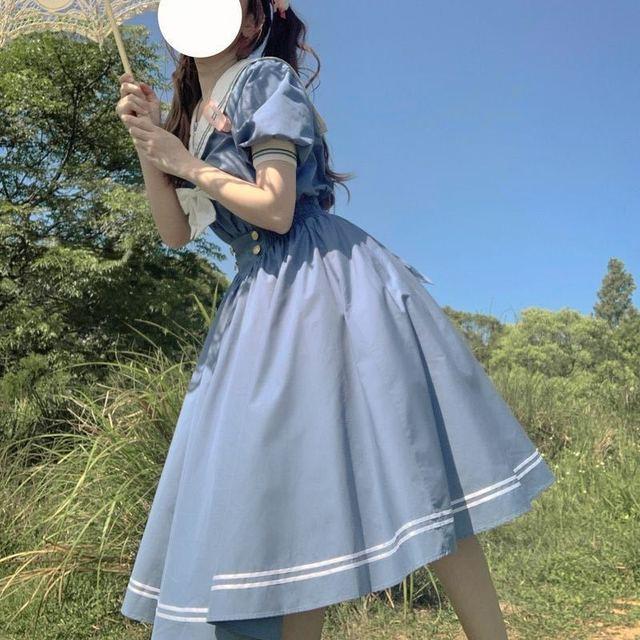 QWEEK Navy Sailor Collar Dress Mori Girl Harajuku Sundress Japan Style Sweet Lolita Style Kawaii Cute Dress Princess Elegant 5