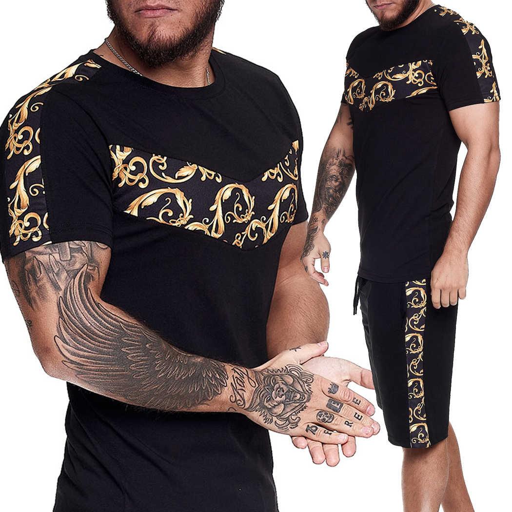 Conjunto de calções de verão t camisa e shorts definir roupas de rua alta para os homens ouro imprimir cor bloco curto treino masculino define 2020