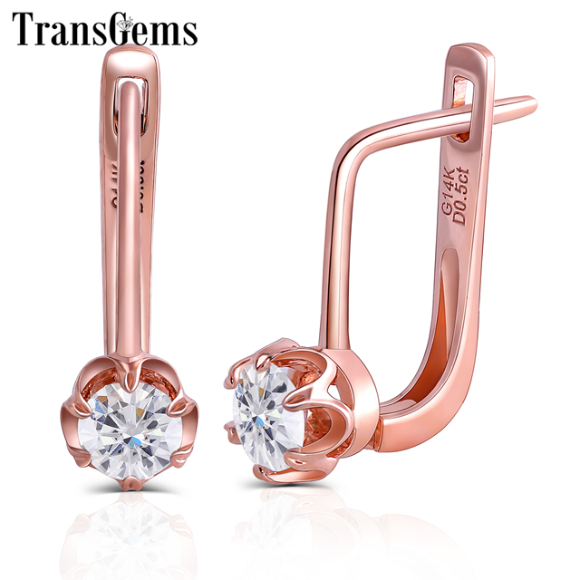 TransGems 14K 585 Rose Gold 1CTW 5MM F Color Clear Moissanite Diamond Hoop Earrings for Women Wedding Flower Shaped Hoop Earring