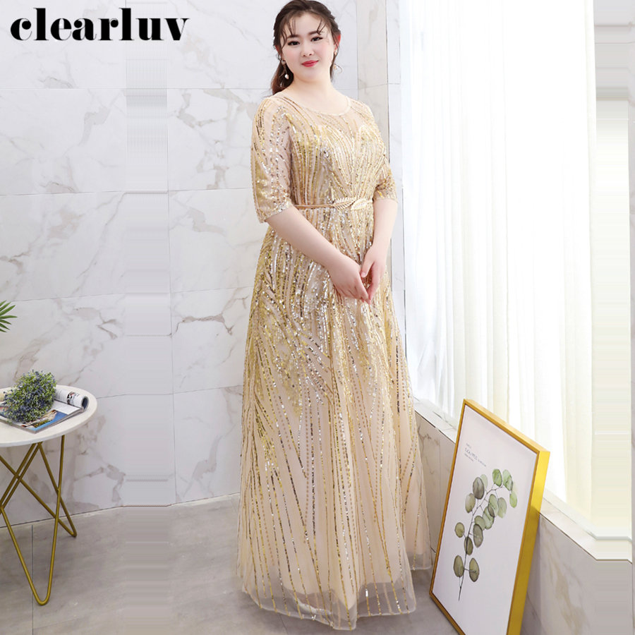 Gold Sequins Evening Dress Stylish Half-sleeve Women Party Dresses 2019 O-neck Plus Size Robe De Soiree Formal Evening Gown T113