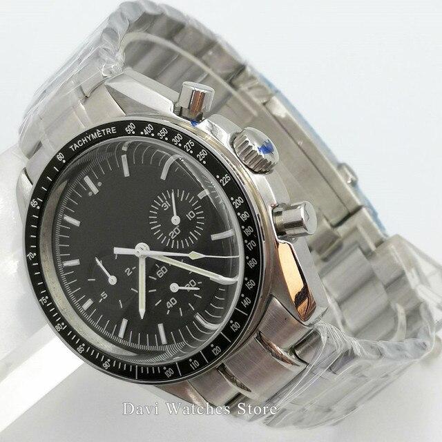 40mm Bliger Multifunction mechanical auto watch men waterproof leather bracelet steel black dial sapphire date week wristwatch