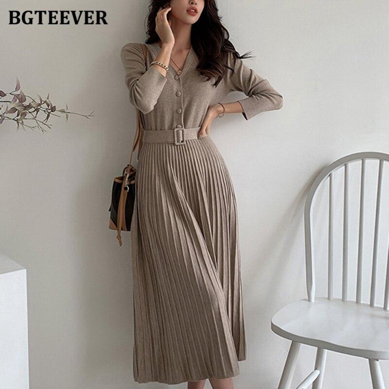 BGTEEVER Elegante V-ausschnitt einreiher Frauen Pullover Kleid 2020 Herbst Winter Schlanke Taille Gestrickte Belted Weibliche A-line Vestidos