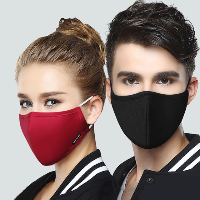 Wecan Kpop Cotton Black Mask Mouth Face Mask Anti PM2.5 dust Mask with 2pcs Activated Carbon Filter korean Mask Fabric Face Mask 1