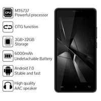 CUBOT H3 SmartPhone 3GB RAM 32GB ROM 5.0 IPS MTK6737 Quad Core Android 7.0 6000MAH 13.0MP Fingerprint 4G LTE Mobile Phone