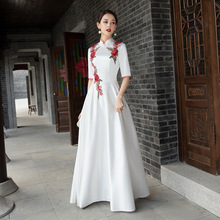 Cheongsam Pleated-Dress Party-Gown Formal Female Elegant Long White Chinese XS-5XL Appliques