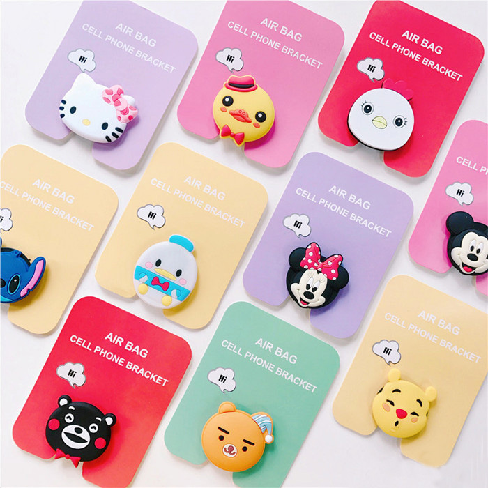 Air Bag Cell Phone Bracket Cute Stitch Pooh Mickey Minnie Phone Stand Finger Holder For IPhone Samsung Universal Phone Stand XR