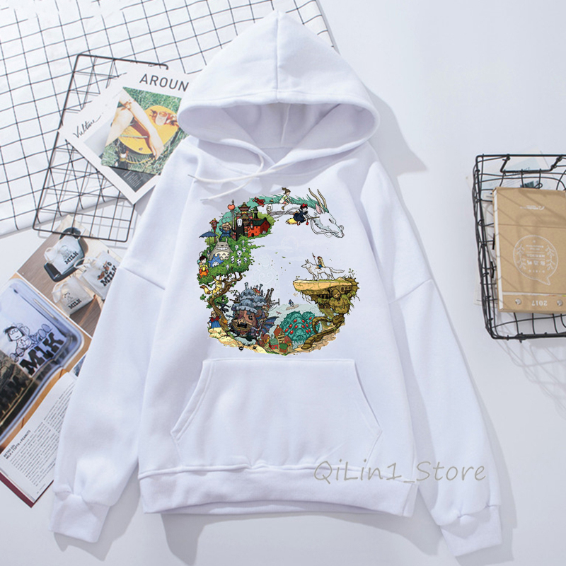 Totoro Hoodies Women Studio Ghibli Harajuku Kawaii Hoodie Men Ullzang Cute Funny Anime Sweatshirts 90s Graphic Hoody Unisex
