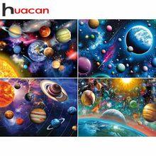 Huacan Diamant Malerei Voll Quadrat Bohrer Planeten Diamant Stickerei Universum Landschaft Kreuz Stich Strass Mosaik Kits Geschenk