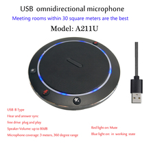 A211U HD Audio Conference Omnidirectional Mini Intelligent USB Desktop Microphone Telephone
