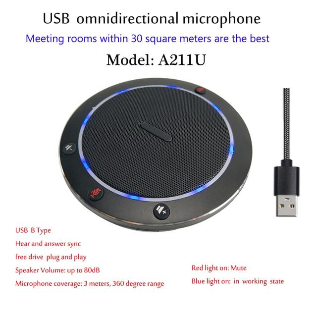A211U HD Audio Conferenza Omnidirezionale Mini Intelligente USB Desktop di Telefono del Microfono