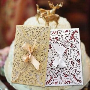 Image 5 - Dualswish 50 개/몫 로맨틱 레이저 컷 꽃 초대 카드 반짝이 종이 결혼식 초대 카드 결혼식 파티 용품