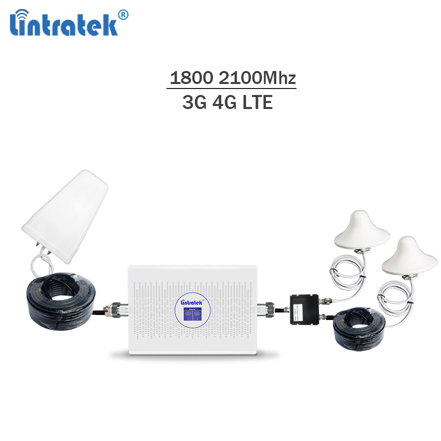 Lintratek 2019 NEW 4G Repeater 3G Booster 2100 1800 Mhz 70dB AGC Dual Band Ampli 4G LTE 1800Mhz DCS 3G 2100Mhz WCDMA Amplifier-in Signal Boosters from Cellphones & Telecommunications
