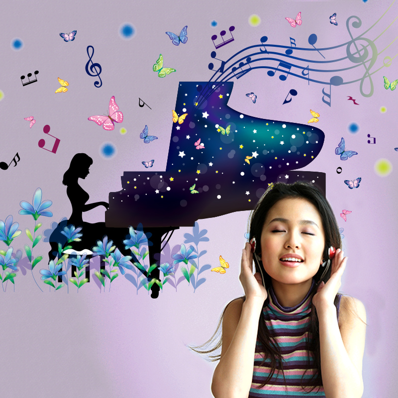 [shijuekongjian] Piano Girl Wall Stickers Colorful Muurstickers Art Decals Home Decor Living Room Bedroom Decoration