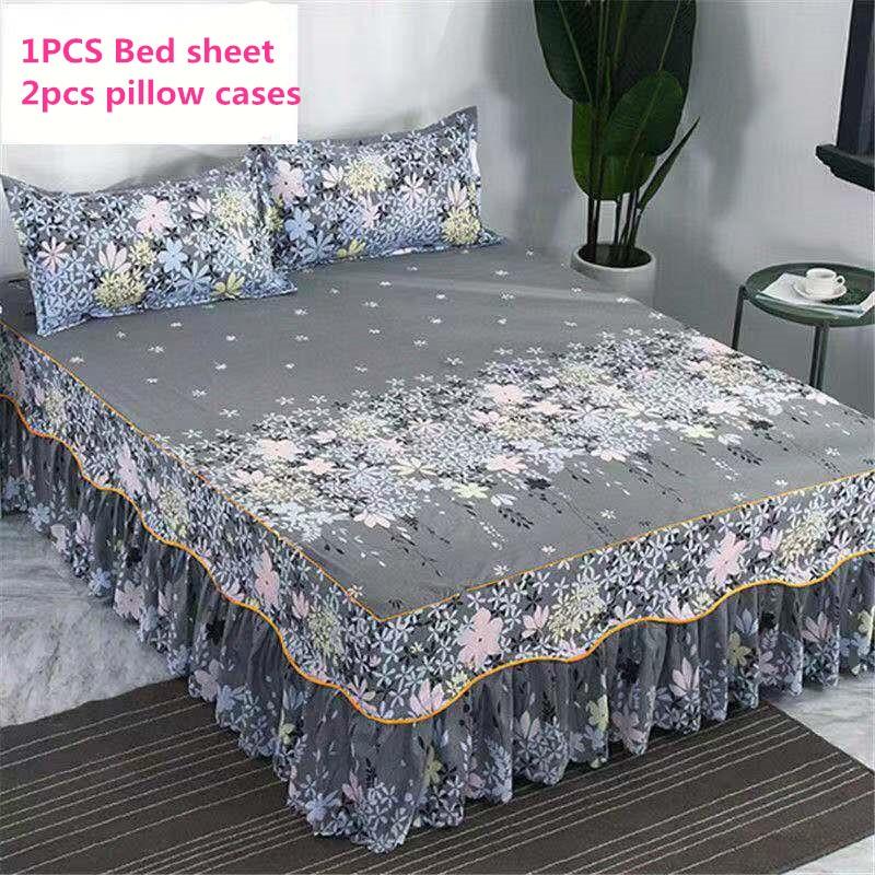 2019 Brand 100%  Cotton With Lace Bed Sheet + 2pcs Pillow Case Bedding Set Bedding 3 Piece Set Pastoral / Fashion Plaid Sheets