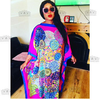 2 Colors Fashion 100% silk Traditional Print  African Dress  Length 130cm  Width :130cm Long Dress For Lady - Blue, One Size