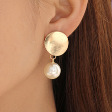 New fashion frosted round imitation pearl crystal earrings alloy circle female jewelry
