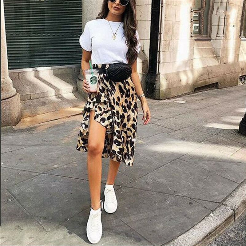 Fashion Summer Retro Leopard Print Office Skirt High Waist Slim Korean Version Of The New Elastic Ladies Casual Ruffles Skirt